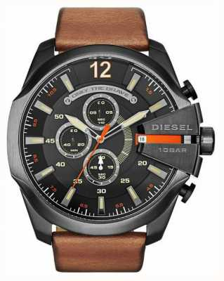 Diesel Mens mega chief zwarte tan chronograaf DZ4343