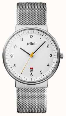 Braun Heren zilver wit horloge BN0032WHSLMHG