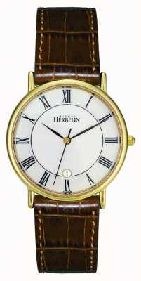 Michel Herbelin Mens pvd vergulde horloge, bruin leer 12443/P08GO
