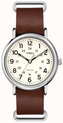 Timex Originals Weekender bruine lederen band T2P495