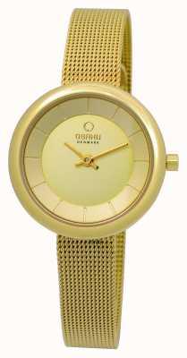 Obaku Ladies pvd gouden plaat mesh armband V146LXGGMG