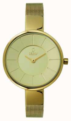 Obaku Ladies pvd gouden plaat mesh armband V149LXGGMG