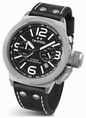 TW Steel Gents kantine 45mm chrono zwart lederen band CS3