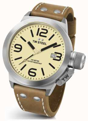 TW Steel Gents kantine 45mm bruin lederen band CS11