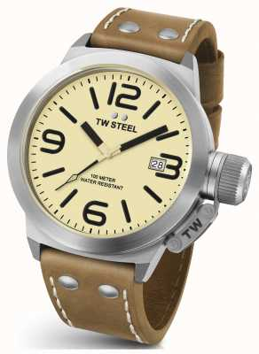 TW Steel Gents kantine chrono 50mm bruin lederen band CS12