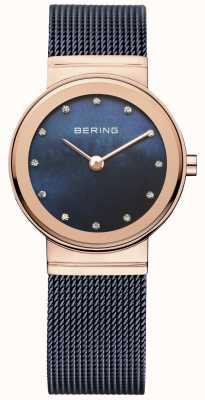 Bering Ladies blauwe mesh pvd rose gouden kast 10126-367
