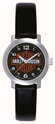 Harley Davidson Ladies zwarte lederen band horloge 76L10