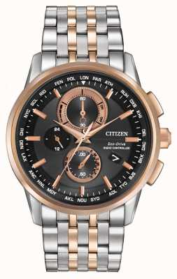 Citizen Mens eco-rijden wereld chrono staal en rose goud AT8116-57E