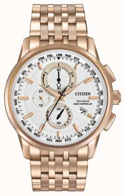 Citizen Menseco rijden wereld chrono op rose goud tone AT8113-55A