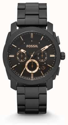 Fossil Gents machine zwarte pvd verguld FS4682