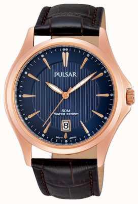 Pulsar Mens bruin lederen band blauwe wijzerplaat PS9388X1