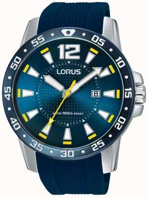 Lorus Gents blauwe rubberen band blauwe wijzerplaat RH935FX9