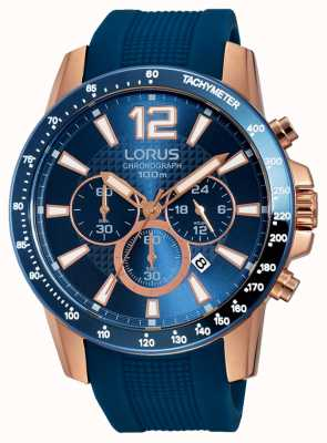 Lorus Mens blauw siliconen band rose goud RT392EX9