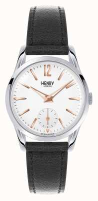 Henry London Highgate zwart lederen band witte wijzerplaat HL30-US-0001
