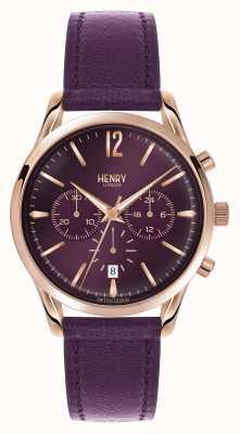 Henry London Hampstead paarse lederen band chronograaf HL39-CS-0092