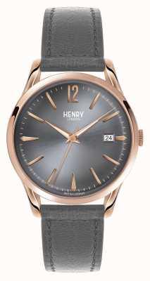 Henry London Finchley grijs lederen band grijze wijzerplaat HL39-S-0120