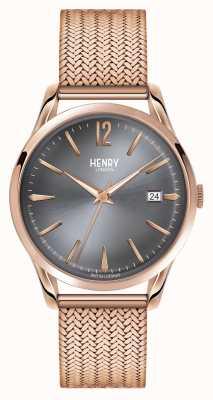 Henry London Finchley rose goud gaas grijze wijzerplaat HL39-M-0118