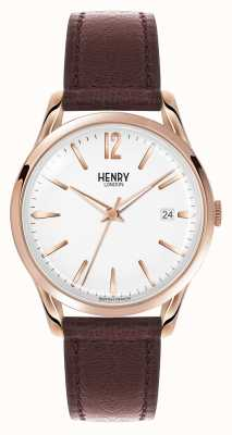 Henry London Richmond bruin lederen band witte wijzerplaat HL39-S-0028