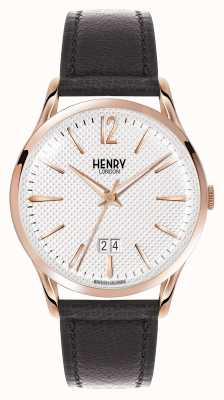 Henry London Richmond zwart lederen band witte wijzerplaat HL41-JS-0038