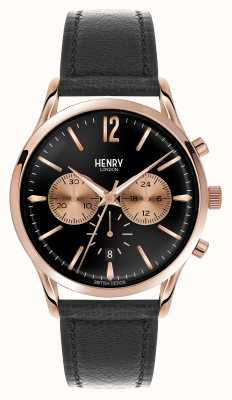 Henry London Richmond zwart lederen band chronograaf HL41-CS-0042