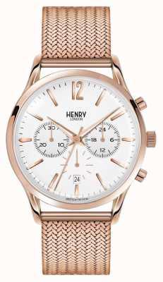 Henry London Richmond rose goud verguld mesh chronograaf HL41-CM-0040