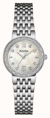 Bulova Vrouwen roestvrij staal diamant instellen witte wijzerplaat 96W203