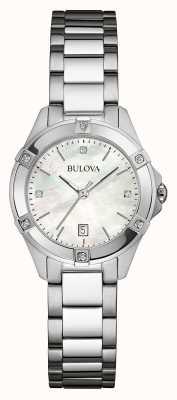 Bulova Vrouwen roestvrij staal diamant set zilveren dia 96W205