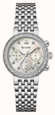Bulova Vrouwen roestvrij staal diamant set chrono 96W204