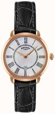 Rotary Ladies elise zwart lederen band horloge LS02919/41