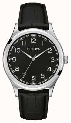 Bulova Gents klassiek zwart lederen band 96B233
