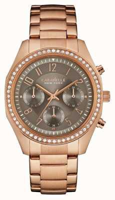 Caravelle New York Womens rose goud kristal chronograaf 44L195