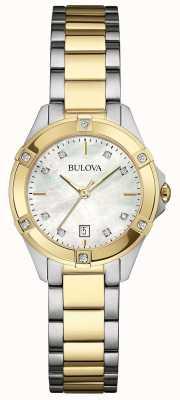 Bulova Dames two tone diamant galerij horloge 98W217