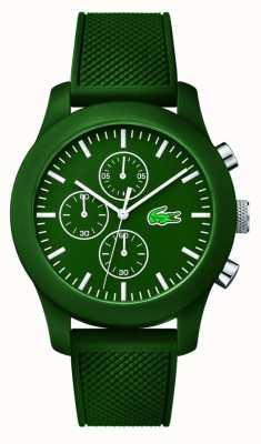 Lacoste Mens 12.12 chrono groene rubberen band groene wijzerplaat 2010822