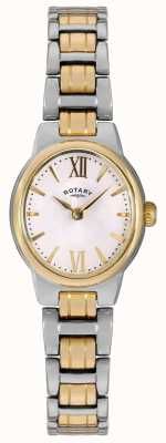 Rotary Vrouwen two tone armband witte wijzerplaat LB02747/01