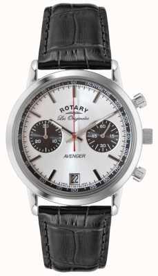 Rotary Heren Avenger zwart lederen band chrono GS90130/06