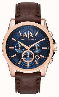 Armani Exchange Mens blauw donker bruin chronograaf AX2508