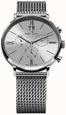 Maurice Lacroix Eliros datum chronograaf mesh armband zilver EL1098-SS002-110-1