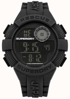 Superdry Mens digitale zwarte rubberen band SYG193B