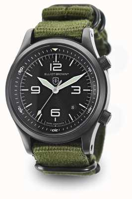 Elliot Brown Mens Canford groen nylon band zwarte wijzerplaat 202-004-N01