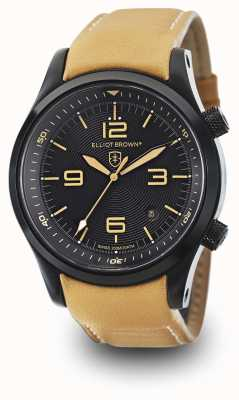 Elliot Brown Mens Canford beige lederen zwarte wijzerplaat 202-008-L04