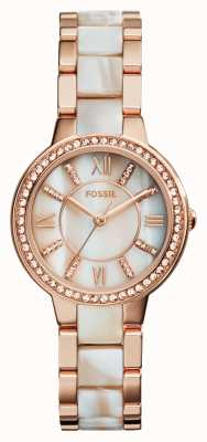 Fossil Womens Virginia rose goud pvd verguld ES3716