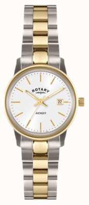 Rotary Vrouwen wreker two tone armband witte wijzerplaat LB02736/02