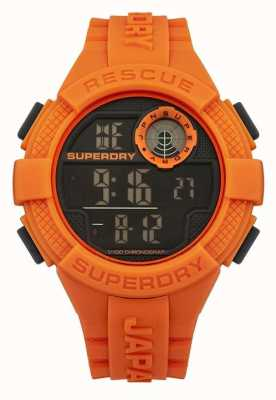 Superdry Mens radar digitale oranje rubberen band SYG193O