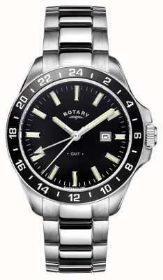 Rotary Mens havana roestvrij staal GMT GB05017/04