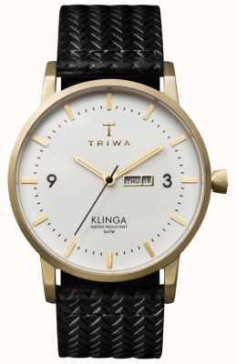Triwa Unisex witte wijzerplaat Klinga met lederen band KLST103-GC010113