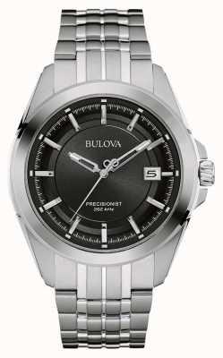 Bulova Heren roestvrij staal zilveren band zwarte wijzerplaat 96B252