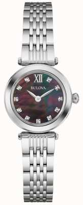 Bulova Womens metal band zwarte parelmoer dial 96S169