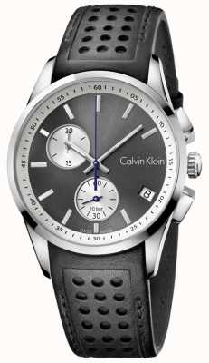 Calvin Klein Mens gewaagde chronograaf zwart lederen K5A371C3