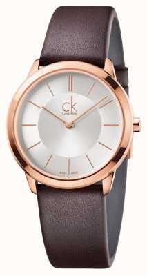 Calvin Klein Mens minimale zilveren wijzerplaat rose gouden kast K3M226G6