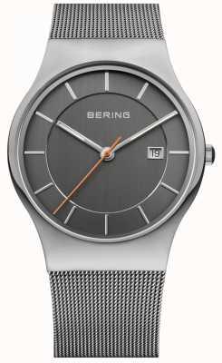 Bering Heren | roestvrij stalen gaasband | grijze wijzerplaat | 11938-007